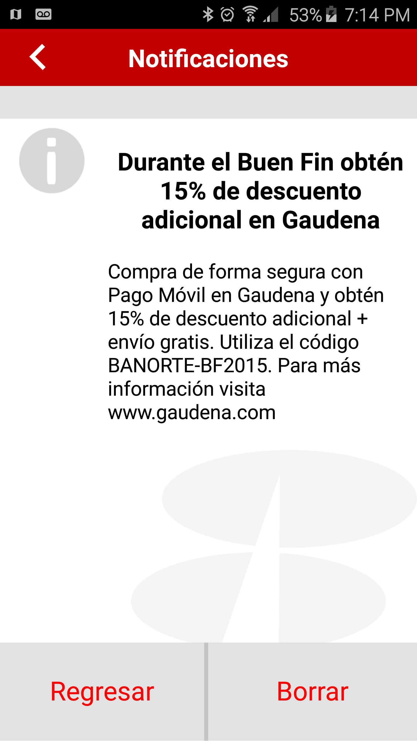Banorte : 15% adicional y envio gratis en Gaudena con pago móvil