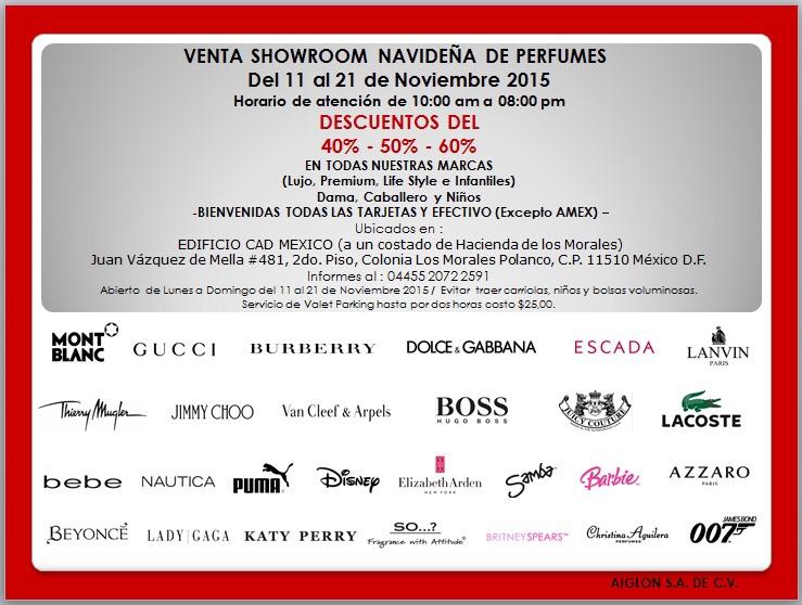 Venta de Perfumes del 11 al 21 de Noviembre en el Edificio CAD (Polanco) Descuentos del 40% al 60%