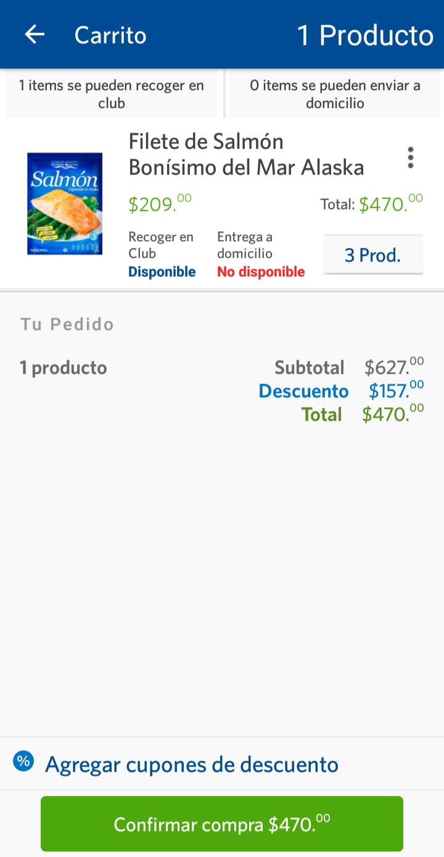 Sam's Club: Filete de Salmón Bonisimo 900grs por $157, comprando 3