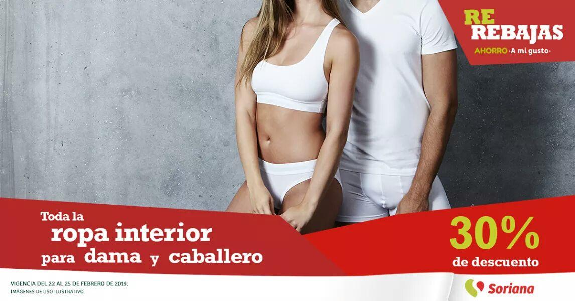 Soriana Híper y MEGA: 30% de descuento en ropa interior para dama y caballero