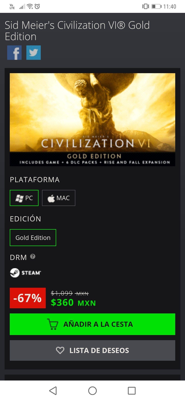 Green Man Gaming: Civilization VI Gold Edition!! (Steam)