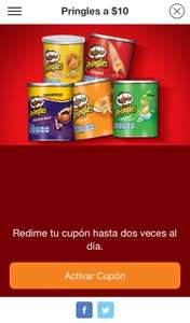 7 Eleven: Pringles 10 pesos