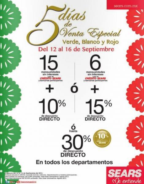 Sears: venta especial del 12 al 16 de septiembre