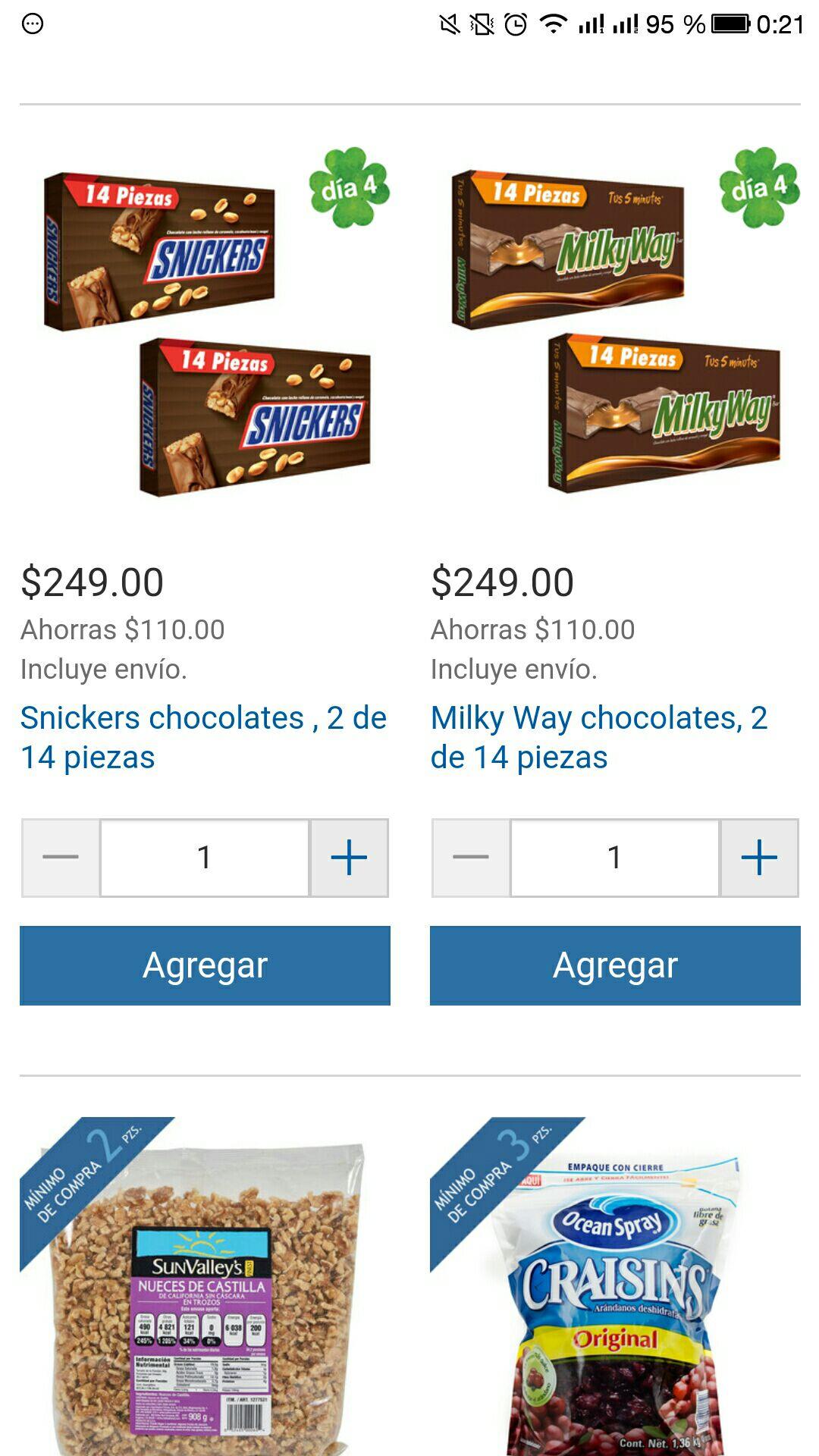 Costco online: 28 piezas snickers o milky way envío gratis