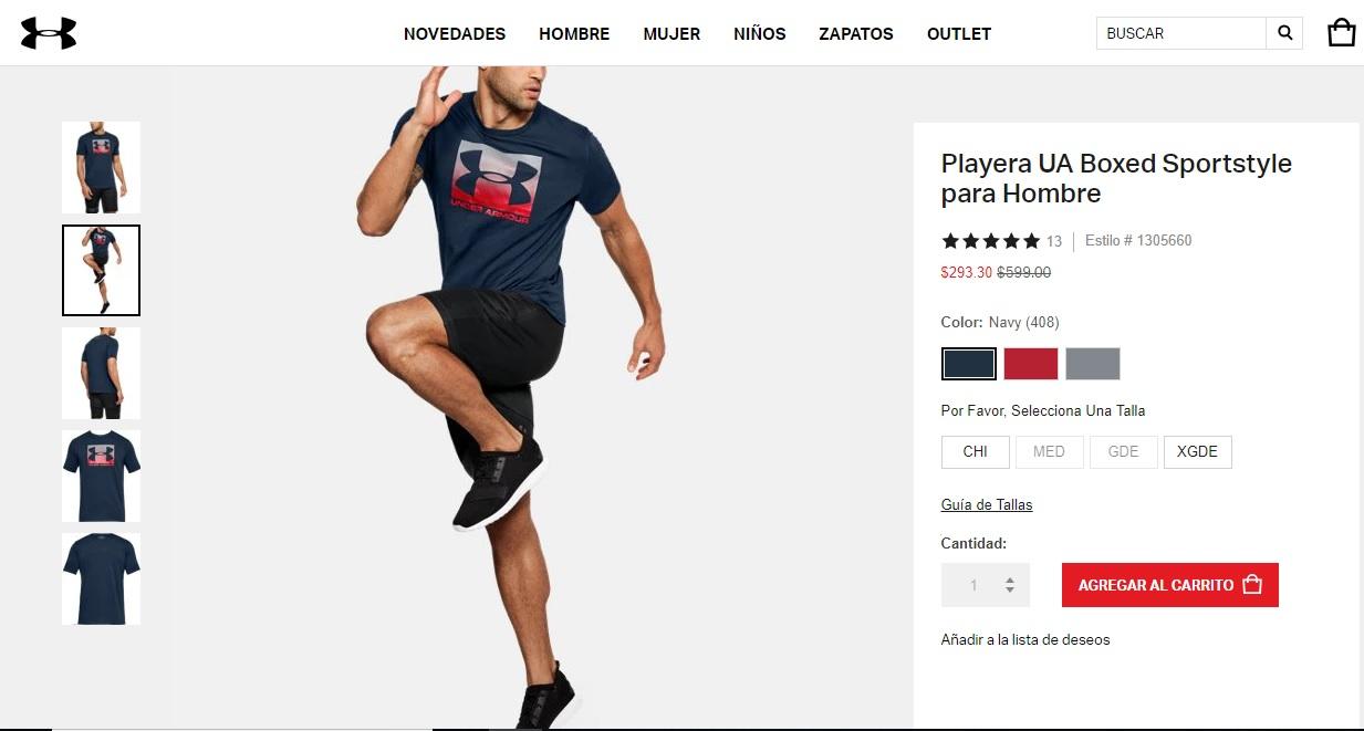 Under Armour: Playera Boxed Sportstyle CH y XL envio gratis!!