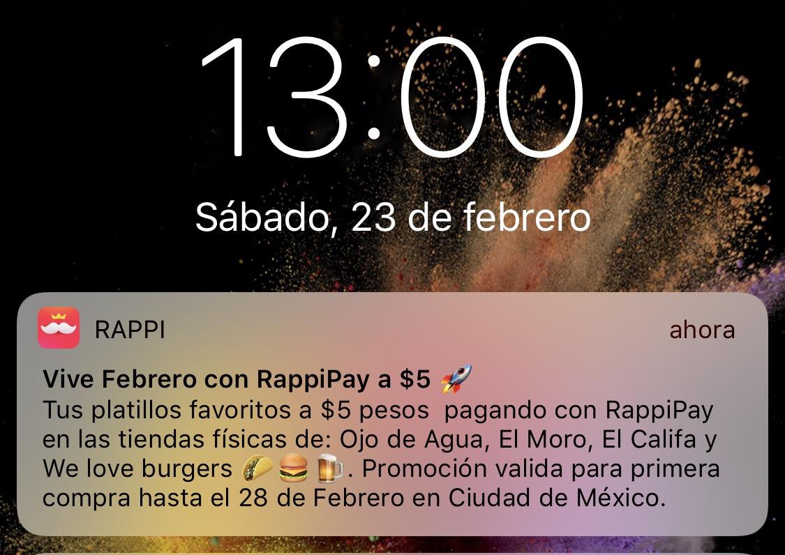 Rappi: COMIDA A 5 pesos
