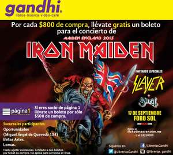 Gandhi: boleto gratis para Iron Maiden por cada $500 u $800 de compra