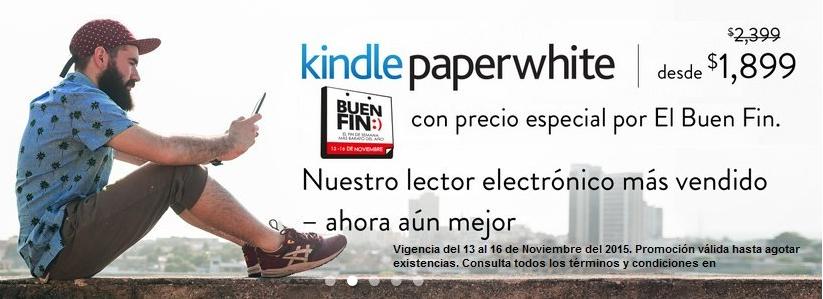 Ofertas del Buen Fin Amazon: Kindle Paperwhite $1582.5 con Banamex