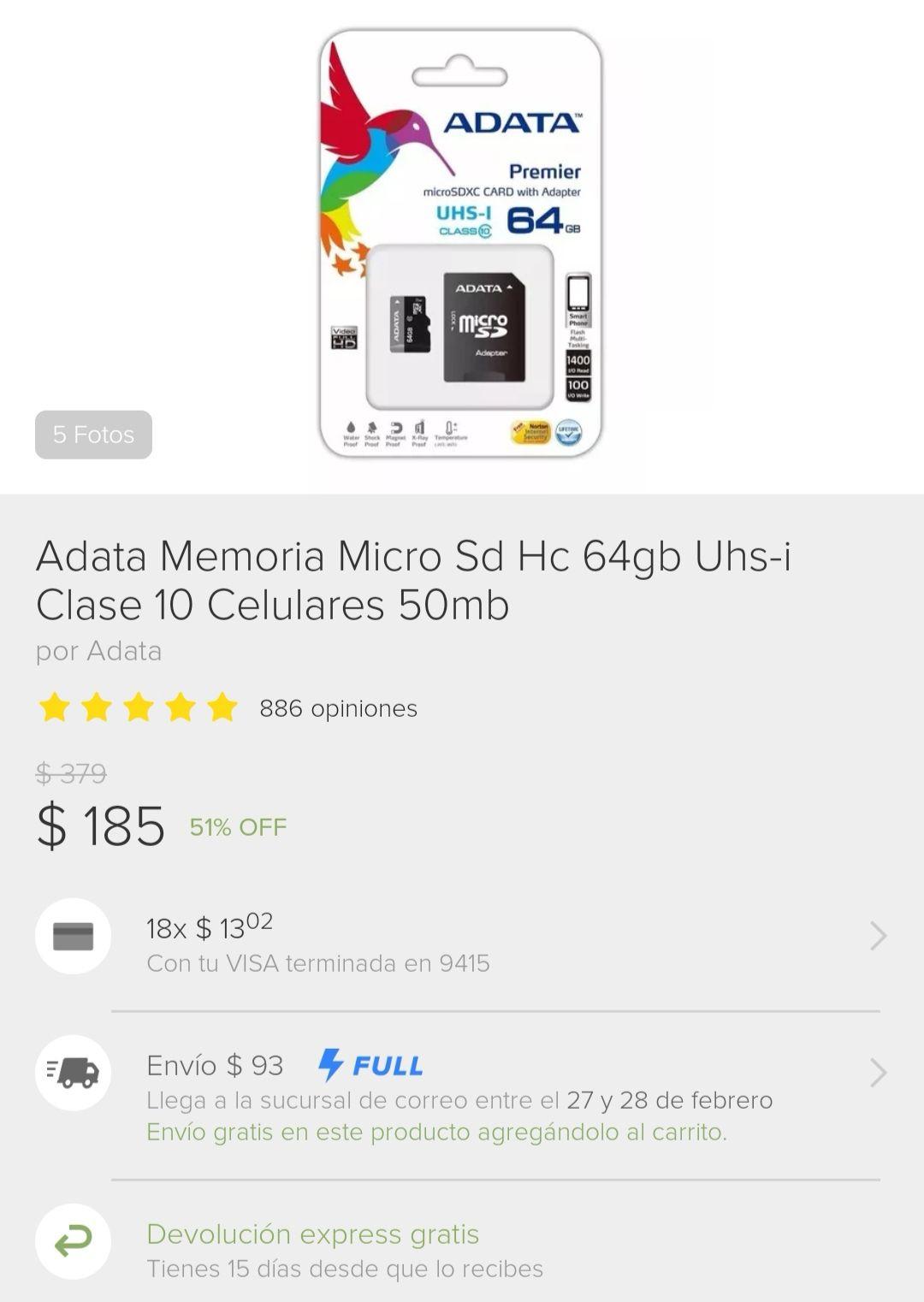 Tienda oficial Adata en Mercado Libre: Memoria Micro SD 64Gb U1 (+93 pesos de envío)