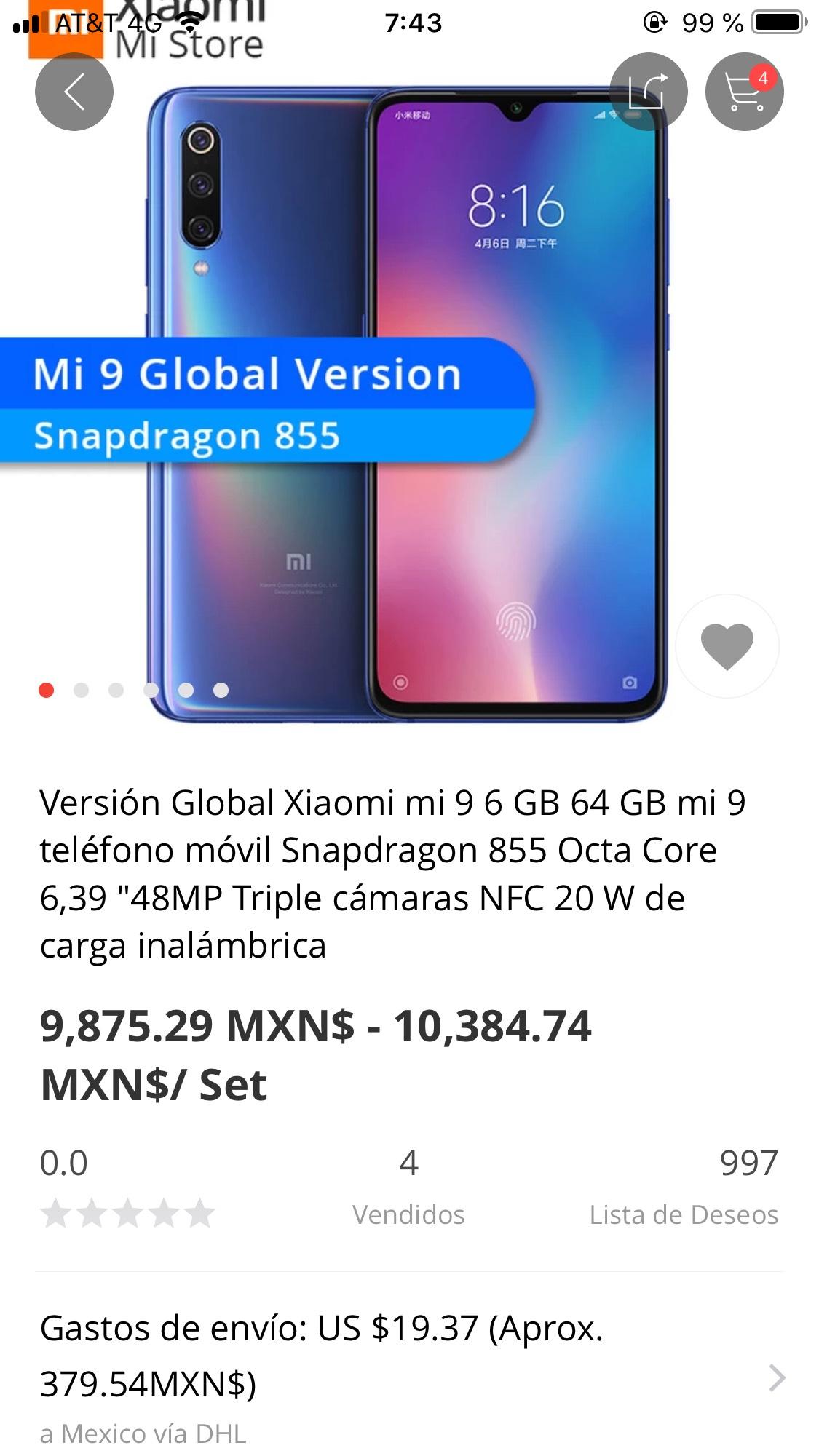Aliexpress: Xiaomi Mi 9 VERSION GLOBAL totalmente compatible con bandas en México (Envío DHL incluido)