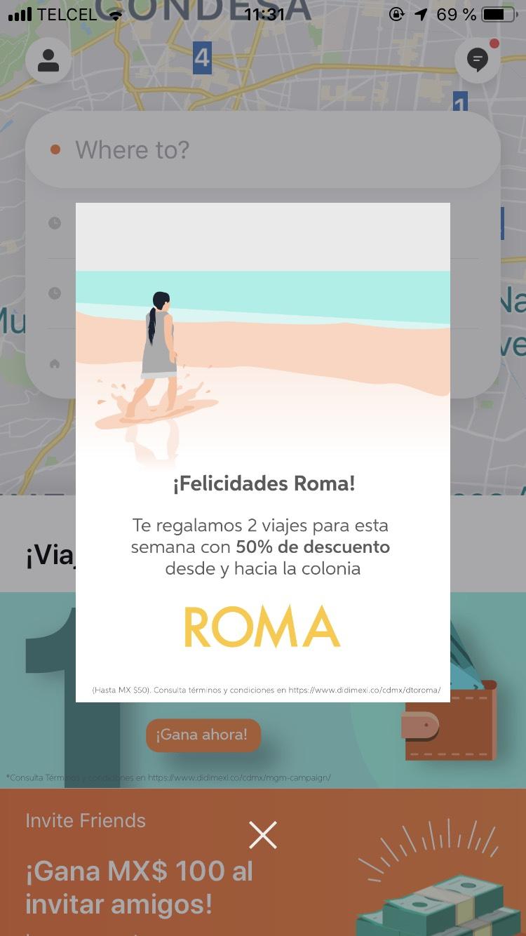 Didi: 50% en viajes de y hacia la colonia Roma