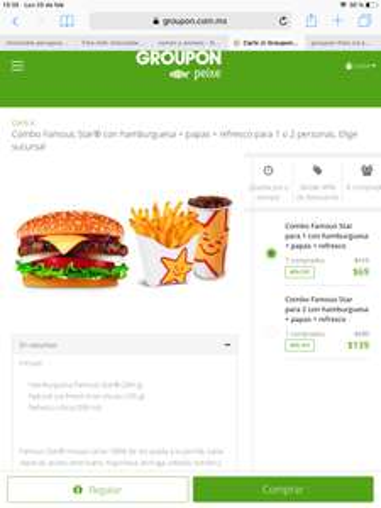 Groupon: Carls J Combo Famous Star con hamburguesa + papas + refresco (Sólo CDMX y EDOMEX)