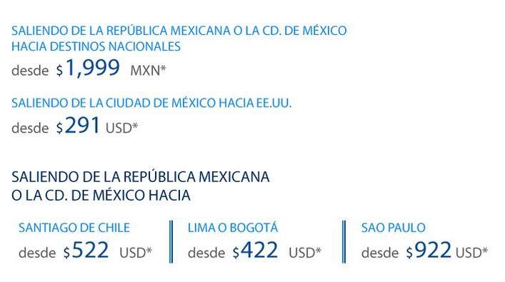Aeroméxico: nacionales desde $1,999 redondo, USA desde $291 dólares, Chile $522 y +