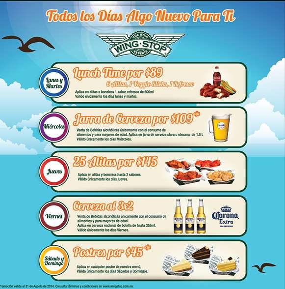 Wing Stop: jueves de alitas 25 por $145 y promociones cada día de la semana