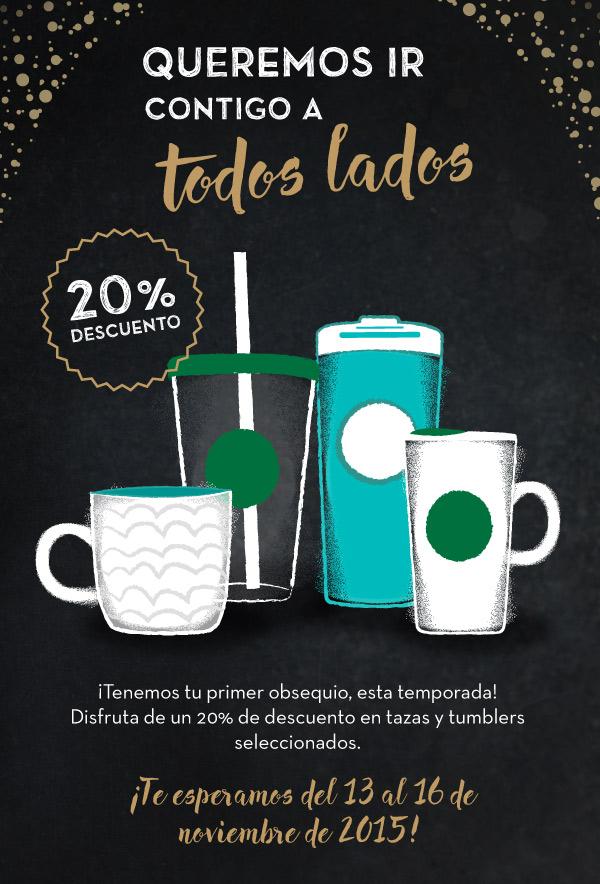 Promoción del Buen Fin en Starbucks: 20% de descuento en tazas y tumblers