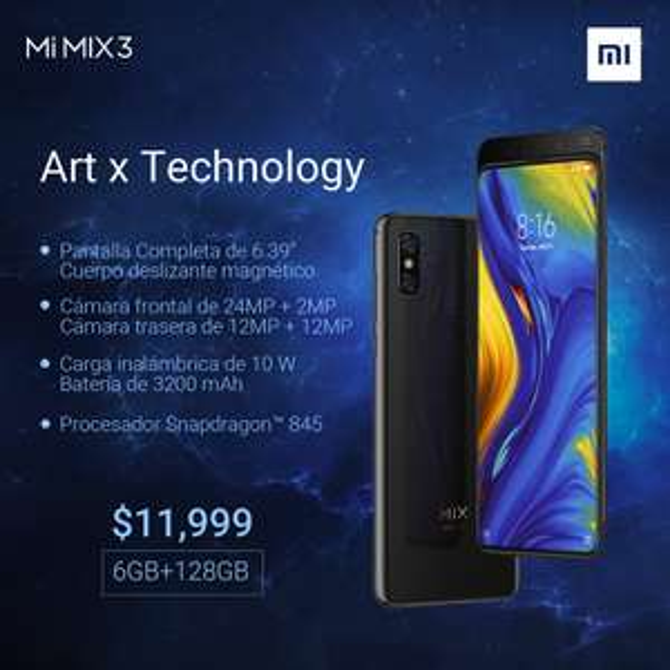 """Xiaomi Mexico: Mi Mix 3 """"11,999 En Mi Store Antenas y Toreo a partir del 1 de marzo"""