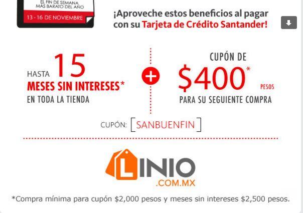 Santander y Linio: 15 MSI y 400 de Cashback en compras de 2000