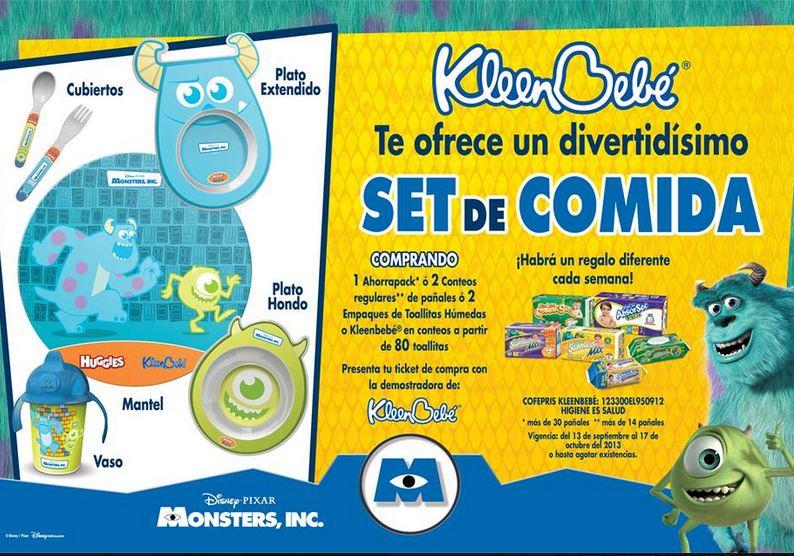 Huggies y KleenBebé: set de comida de Monsters Inc comprando pañales o toallitas