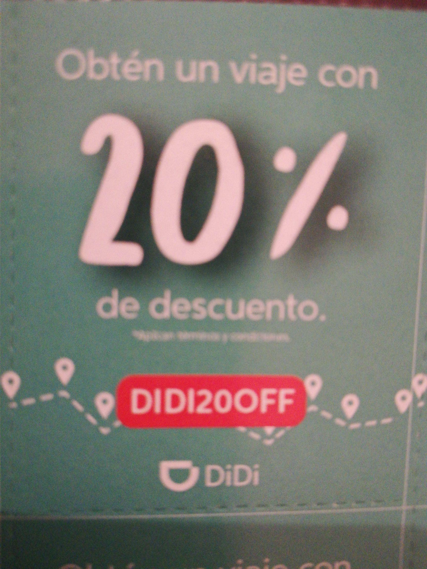 Didi CDMX: 20% de descuento