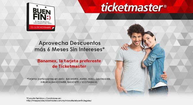 Ticketmaster: 6 meses sin intereses mas descuento en eventos seleccionados