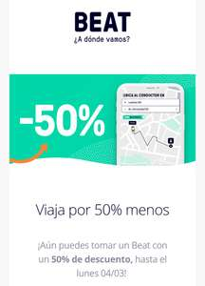 Beat: Promocion extendida del 50% en viajes en la CDMX, hasta el 4 de Marzo