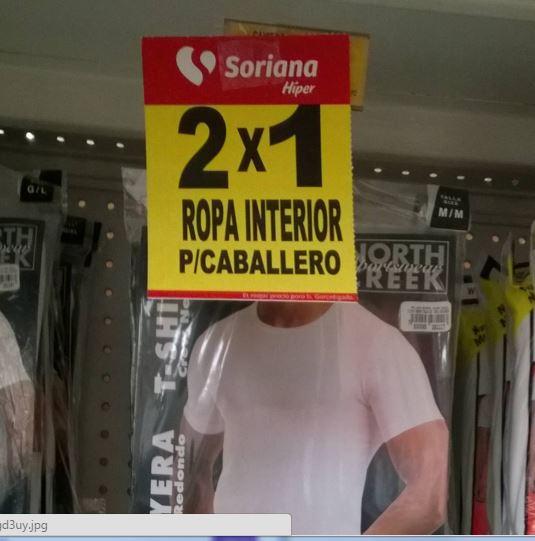 Soriana: Ropa interior dama y caballero 2x1 solo hoy por el Buen Fin 2015
