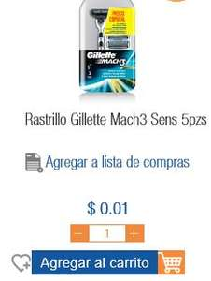 CHEDRAUI EN LINEA Suc. Coapa- Rastrillo Gillette Mach 3 con 5 piezas en 0.10 centavos.