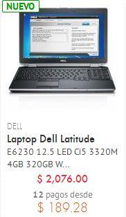 Linio: laptop Dell con procesador Intel Core i5 $2,076