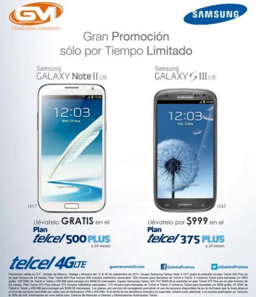 Telcel: Galaxy S3 $999 en plan de $399 y Note 2 gratis en plan de $499 (R9)