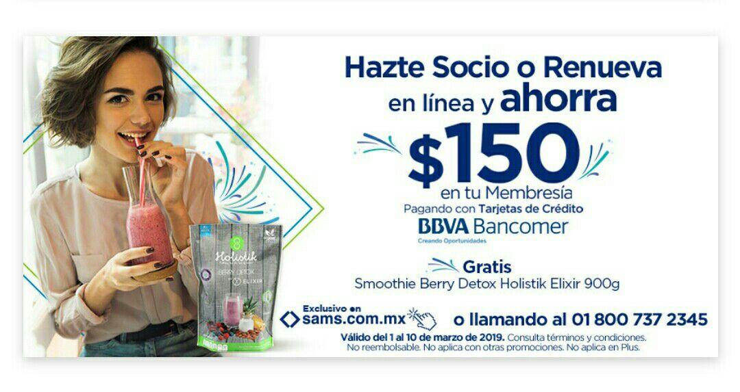 Sam's Club: $150 de descuento en membresía o renovación pagando con Bancomer y preparado para smoothie gratis