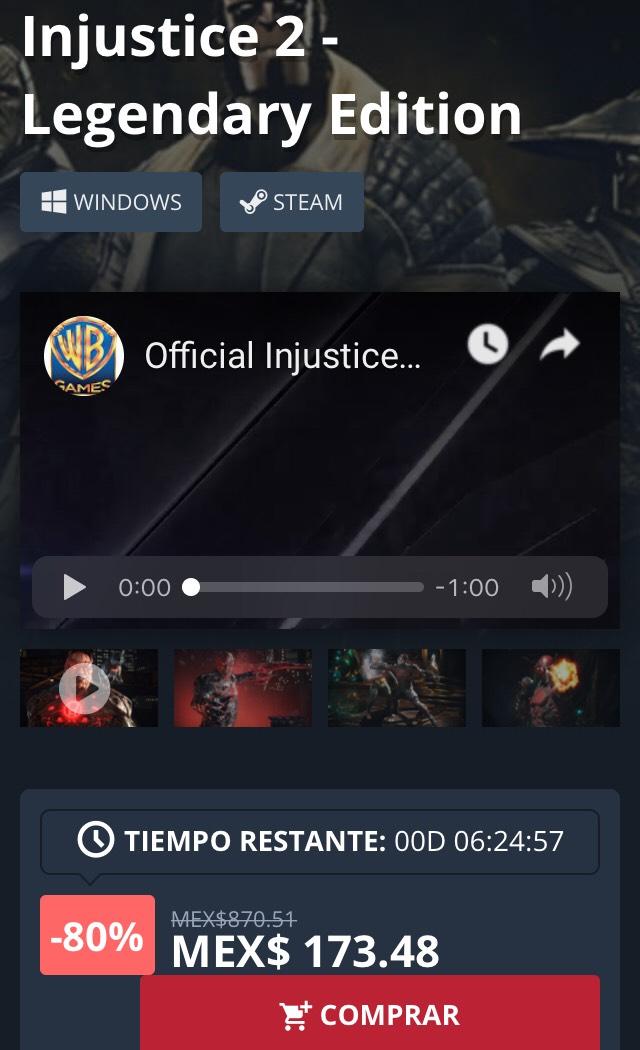 Nuuvem: Injustice 2 - Legendary Edition (clave steam)