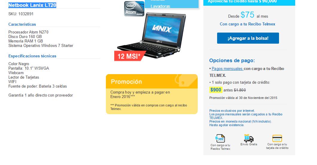 Tienda Telmex: Netbook Lanix LT20 $900 12 MSI
