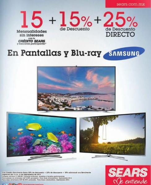 Sears: 15% de descuento + 25% adicional y 15 MSI en pantallas y blu-rays Samsung