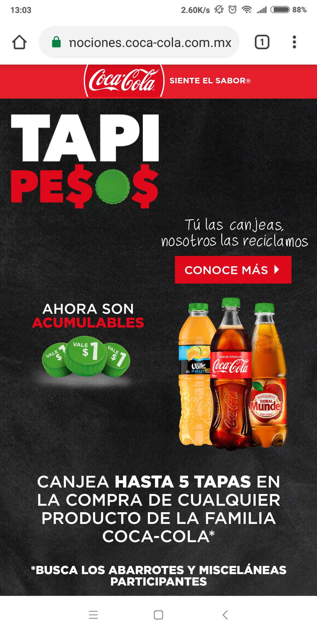 Coca Cola: Tapipesos, hasta -$5 en productos coca cola