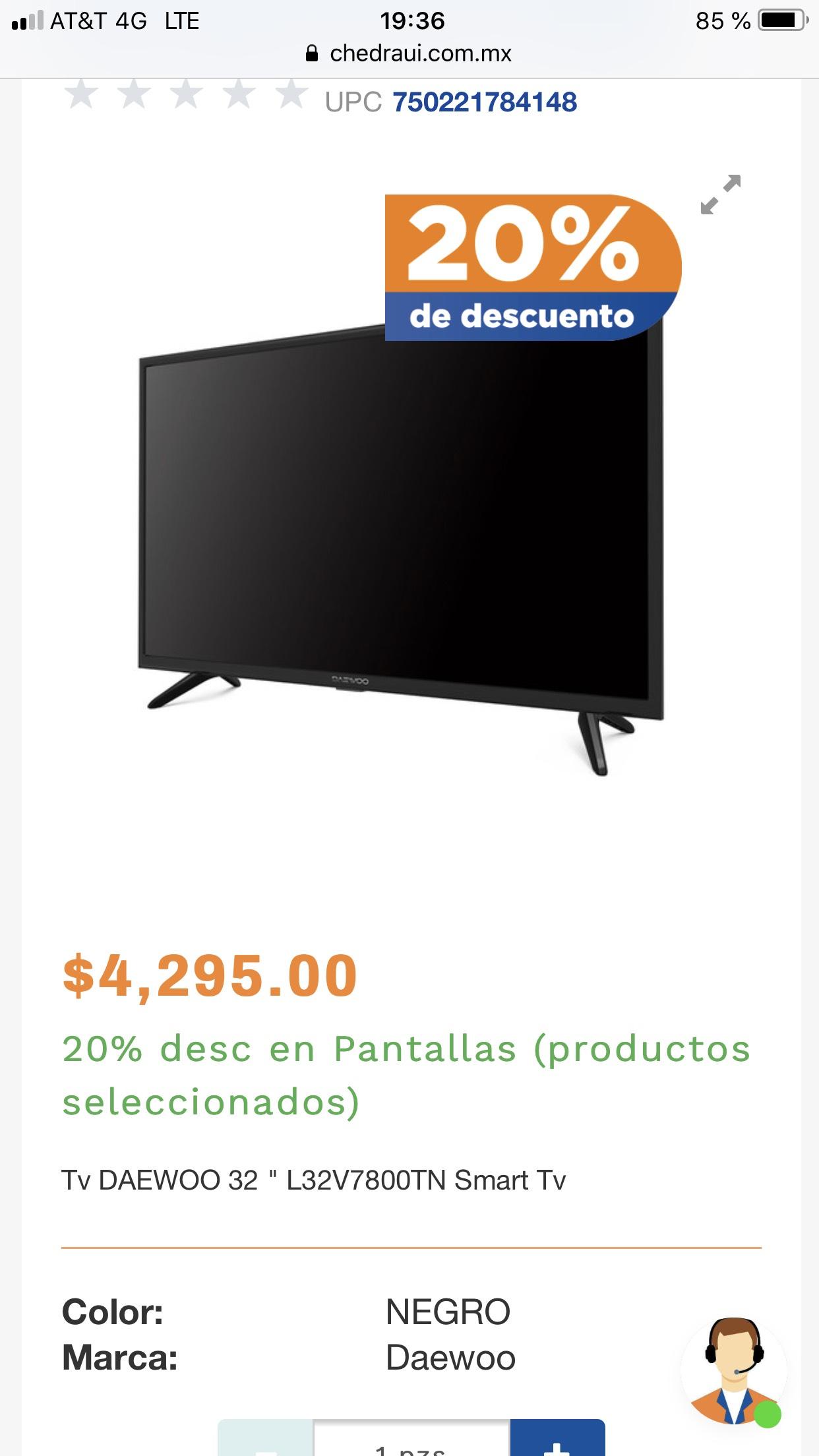 """Chedraui: Smart TV Daewoo 32"""" L32V7800T (a $2,876 en tienda)"""