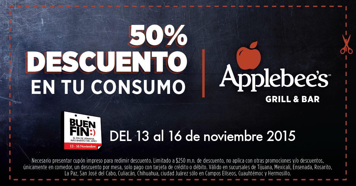 Promociones del Buen Fin en Applebee's: 50% de descuento en consumo