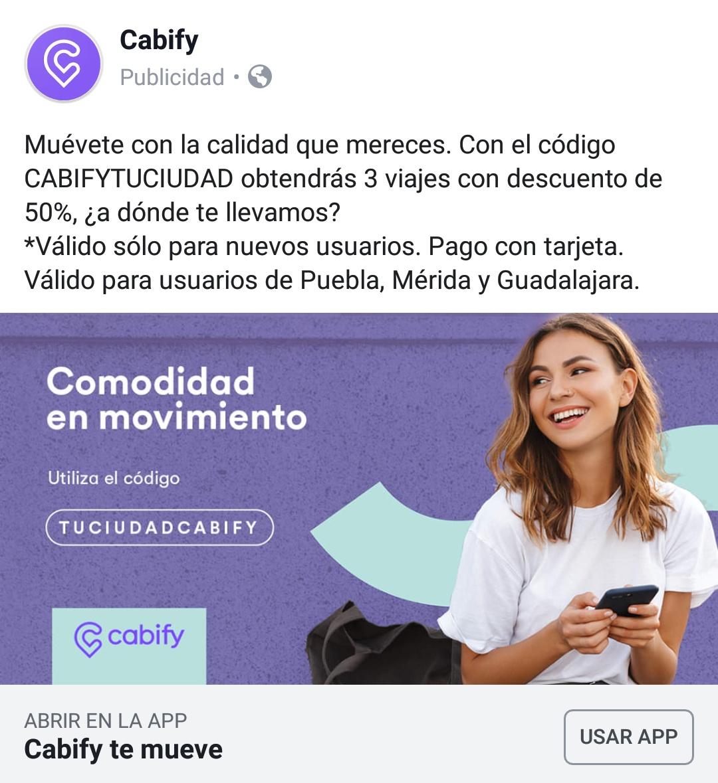 Cabify: Descuento del 50% en 3 viajes, solo nuevos usuarios