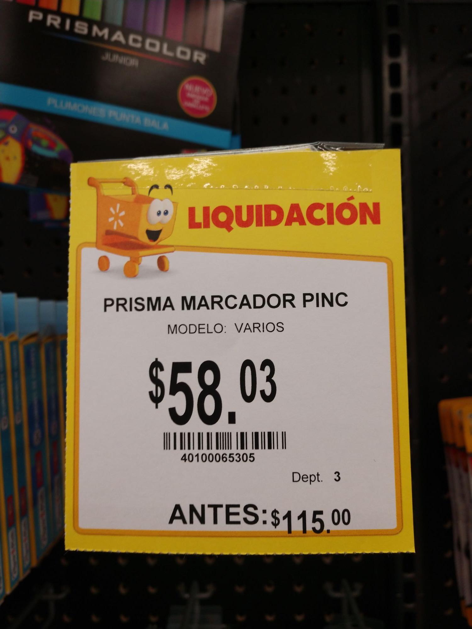 Walmart: Colores y plumones prismacolor