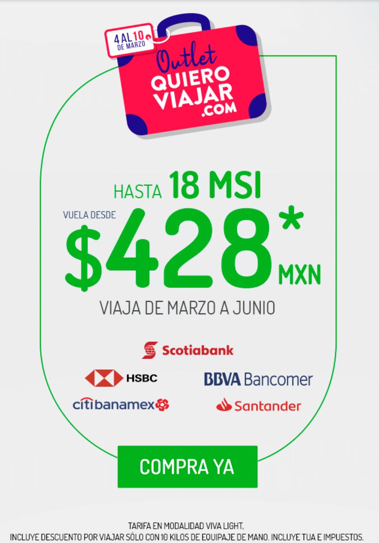 VivaAerobus: Vuelos sencillos de Marzo a Junio desde $428 + Hasta 18 MSI en VivaLight comprando del Lunes 4 al Domingo 10 de Marzo