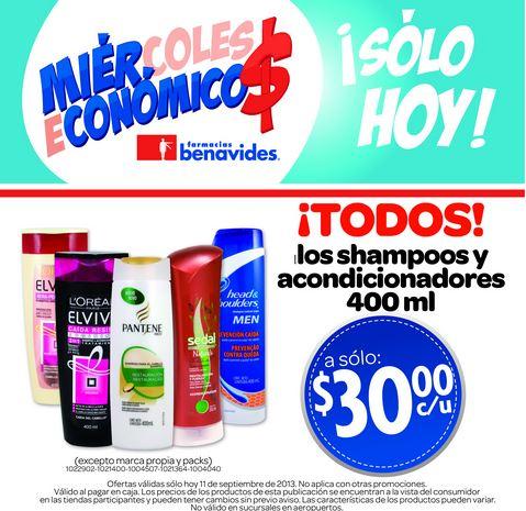 Farmacias Benavides: todos los shampoos y acondicionadores 400ml $30