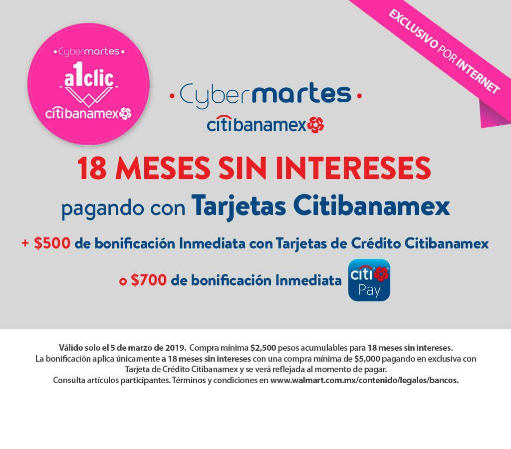 Walmart: 18 MSI + Bonificación Inmediata de $500 con Crédito Citibanamex o de $700 con Citibanamex Pay