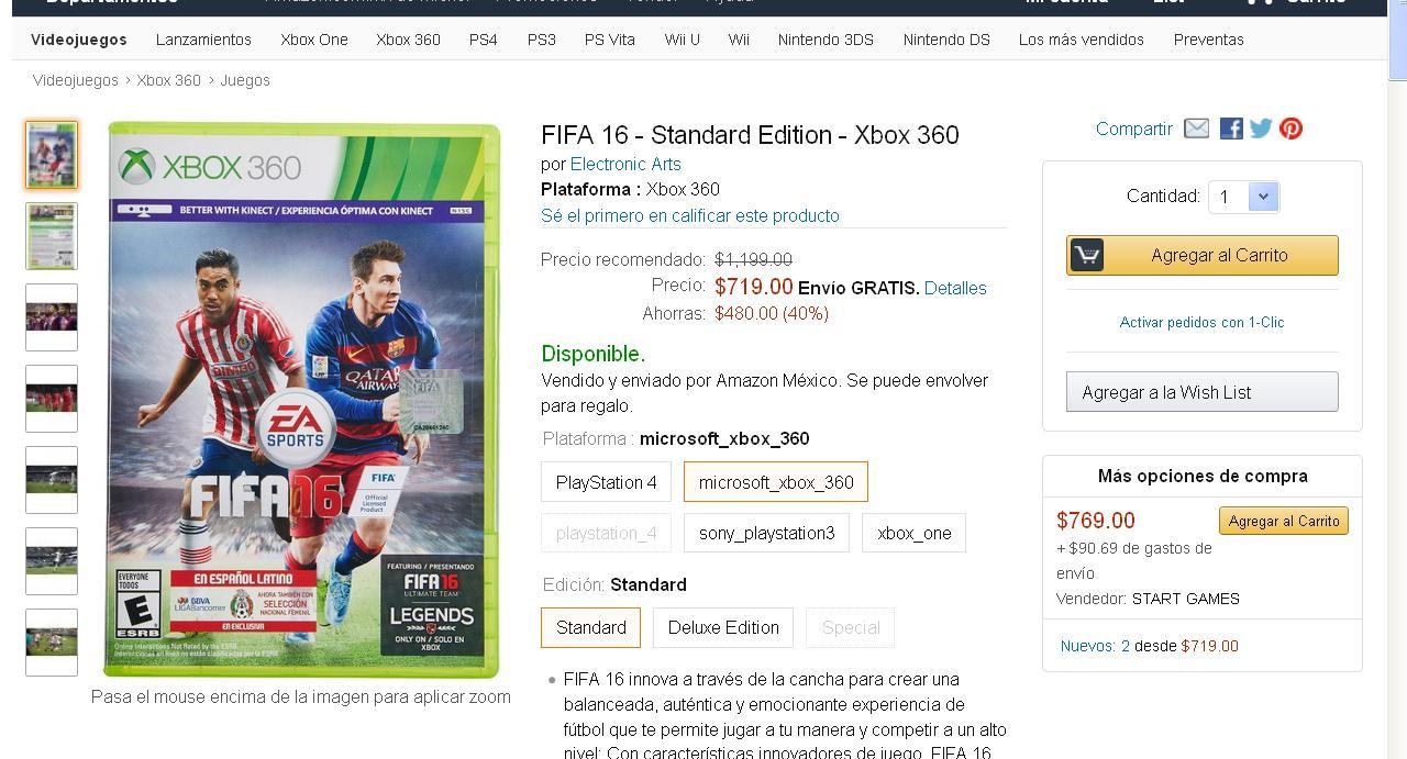 Amazon: FIFA 16 xbox 360 $719