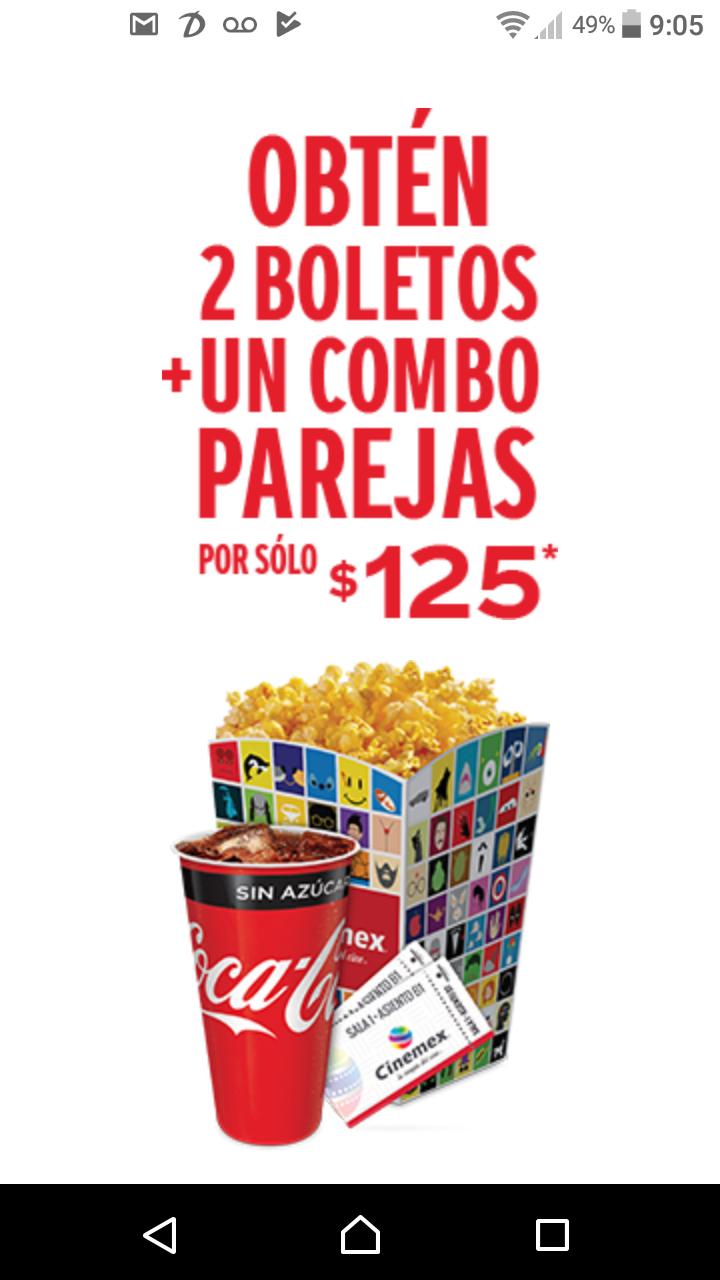 Cinemex: 2 Boletos + Combo pareja por $125