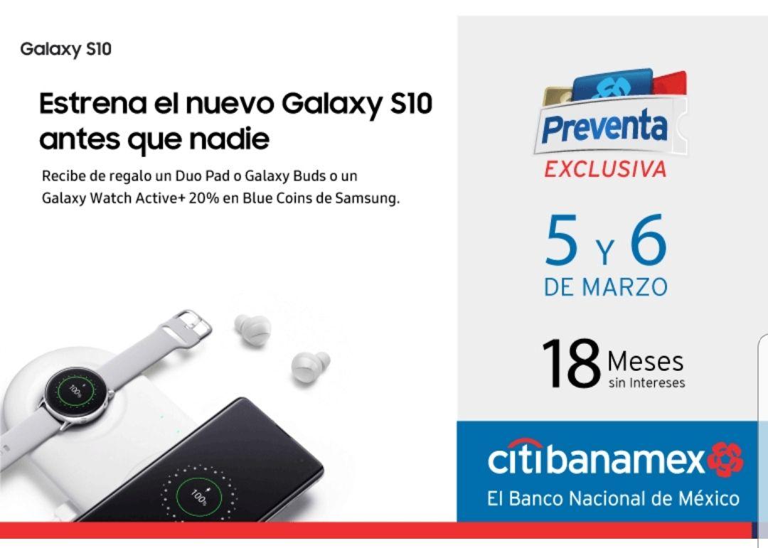 Samsung con Citibanamex: Galaxy S10+ 1tb, más Galaxy Watch/Samsung Care+/$7,000 en Blue Coins/18MSI (puede quedar hasta en $9,801)