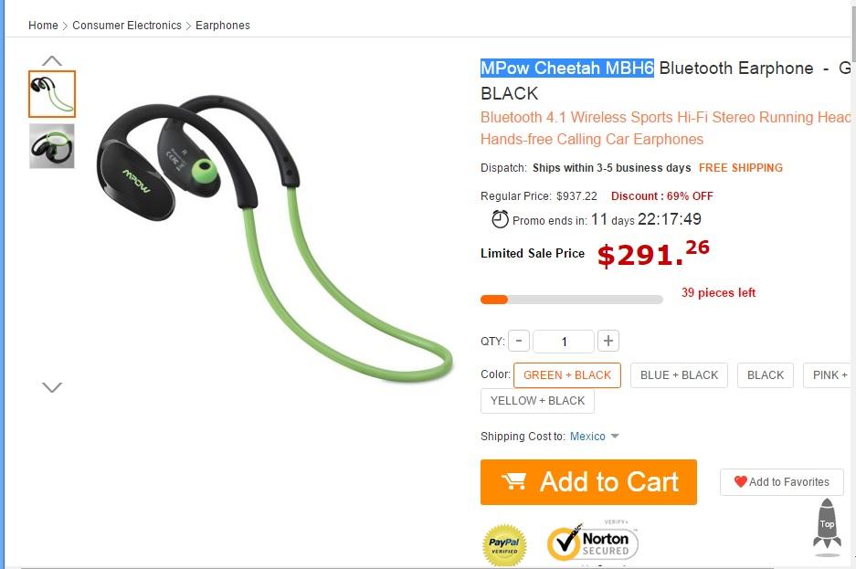 Gearbest: Audifonos bluetooth MPow Cheetah MBH6 $17 dólares