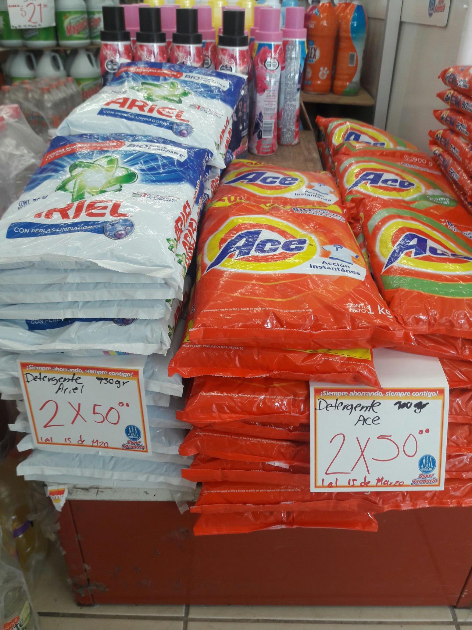 Farmacia Guadalajaras: Detergente Ariel 750gr y Ace 800+200