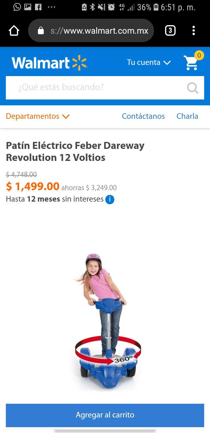 Volvió a estar disponible Walmart: Patín Eléctrico Feber Dareway Revolution 12 Voltios