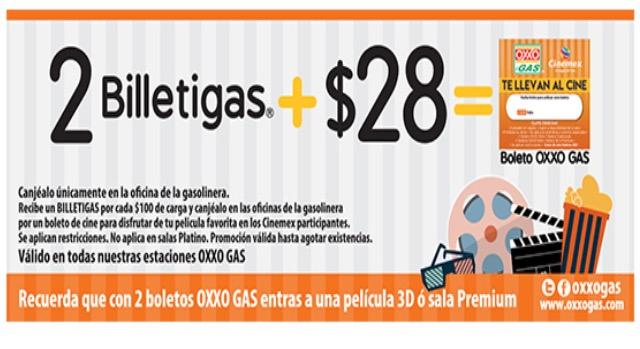 Oxxo Gas: Boletos para Cinemex en $20 por el Buen Fin