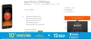 Linio: Apple iPhone 6 128 GB Negro ($11,999 - $1.000 cupón PPBUENFIN)