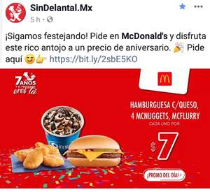 Sindelantal: McDonald's Hamburguesa con queso, 4 mcnuggets o mcflurry a $7